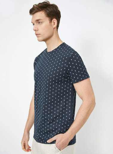 Koton Bisiklet Yaka Kisa Kol % Pamuklu T-Shirt Lacivert